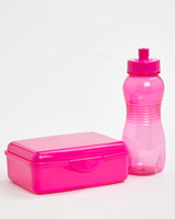 pink Back To School Lunch Box And Bottle Set