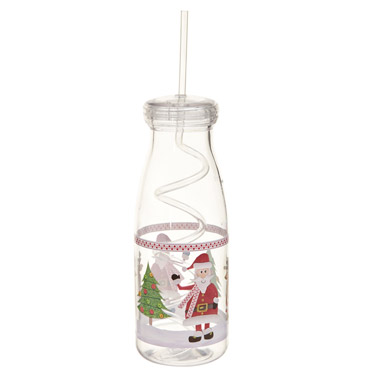 whiteChristmas Bottle With Straw
