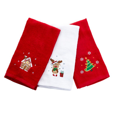 redChristmas Tea Towels - Pack Of 3