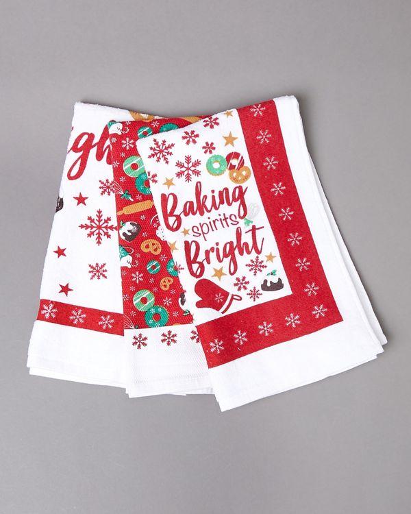 Christmas Design Tea Towels - Pack Of 3