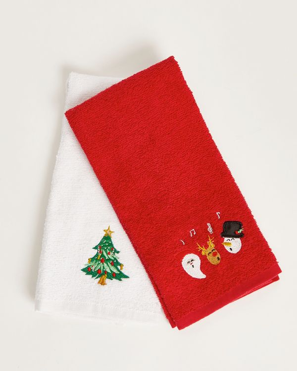Dunnes Stores Red Christmas Tea Towels Set Of 2