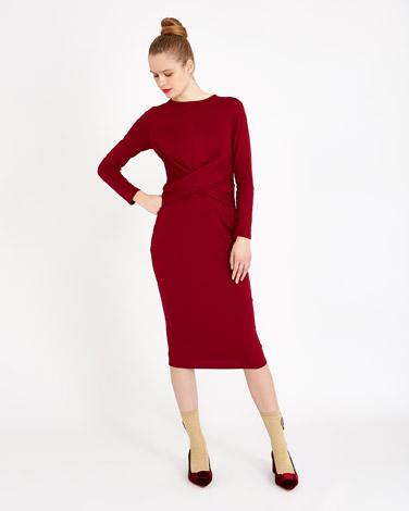 burgundySavida Twist Front Dress