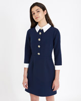 navy Savida Collared Dress