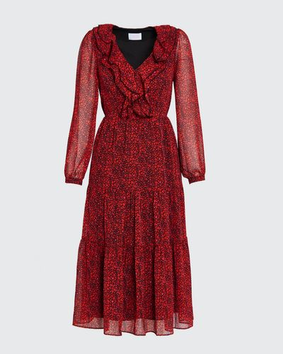 Savida Juliet Heart Print Ruffle Dress