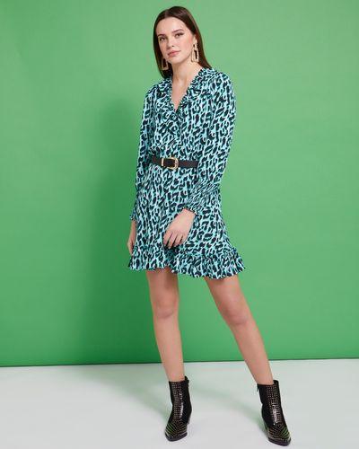 Savida Belted V-Neck Print Dress