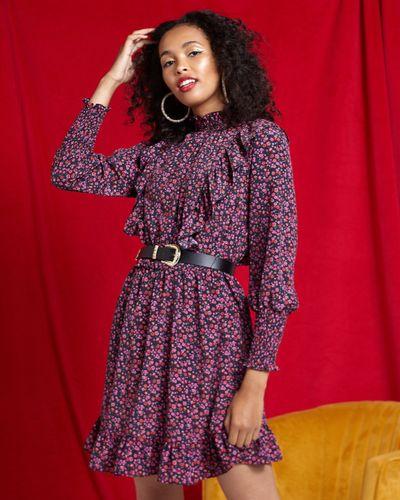 Savida Flower Print Belt Dress