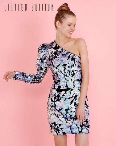 multiSavida One Shoulder Sequin Dress