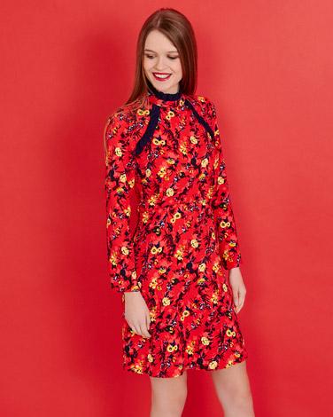 redSavida Floral Print Dress