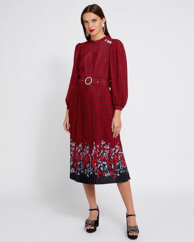 Savida Print Dress With Belt And Button