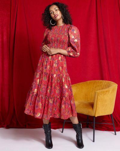 Savida Anna Pink And Red Gold Detail Dress