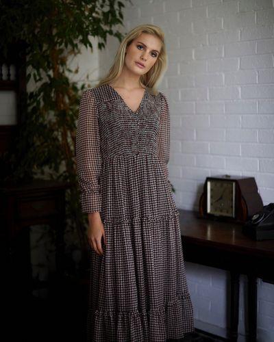 Savida Victoria Houndstooth Midi Dress