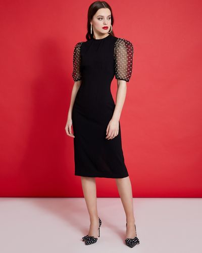 Savida Sheer Sleeve Midi Dress