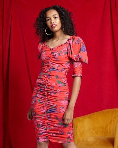 Savida Ruched Puff Shoulder Dress