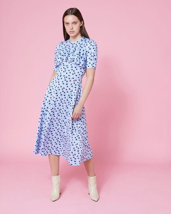 Savida Ruffle Front Midi Dress