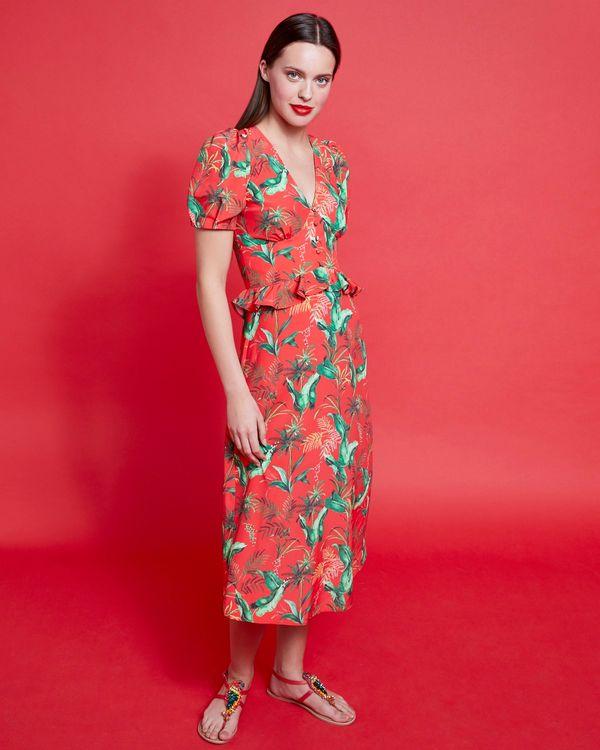Savida Print Midi Dress With Buttons