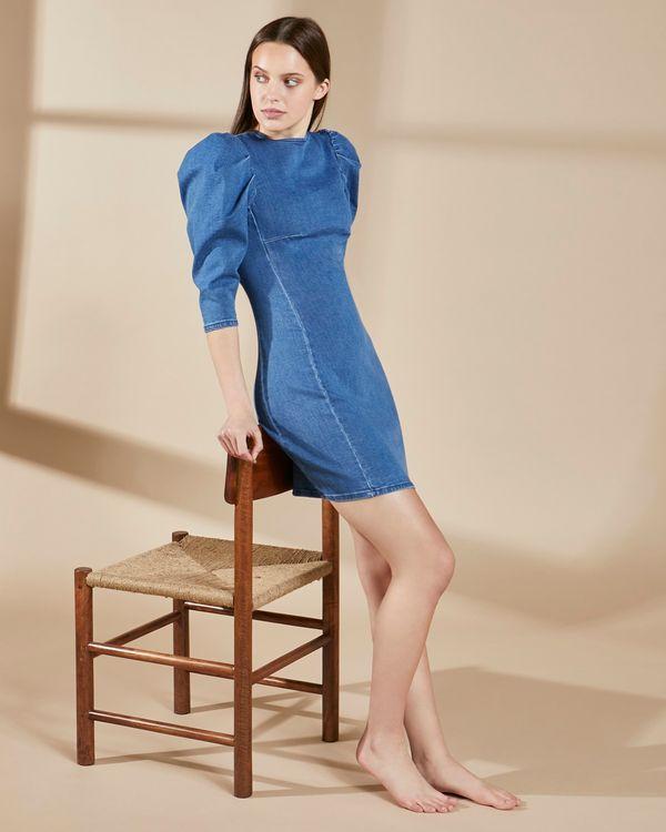 Savida Puff Sleeve Organic Denim Dress