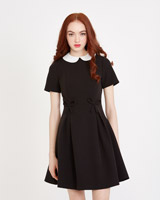 black Savida Bow Detail Black Dress