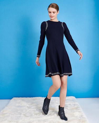 navySavida Stud Dress