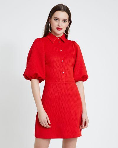 Savida Puff Sleeve Jacquard Dress