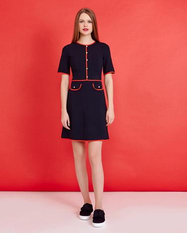 navySavida Piping And Button Detail Dress