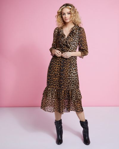 Savida Leopard Ruffle Midi Dress thumbnail
