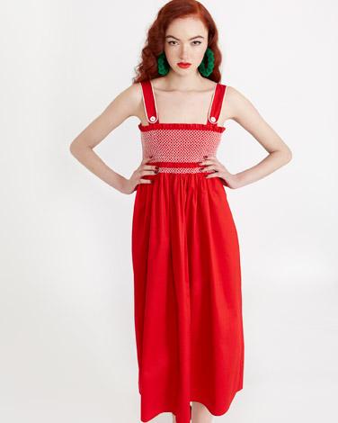 redSavida Button Strap Dress