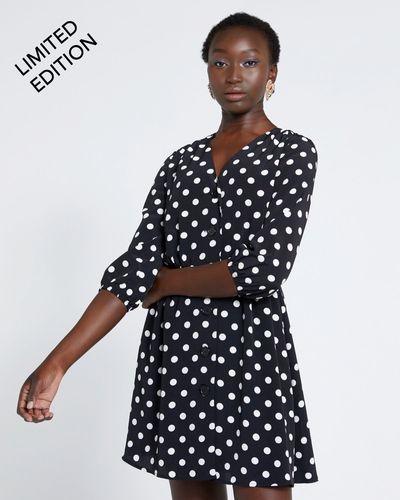 Savida Polka Dot Button Front Dress