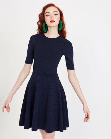 navySavida Knit Fit And Flare Dress