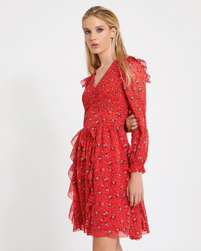 Savida Shirred Print Dress
