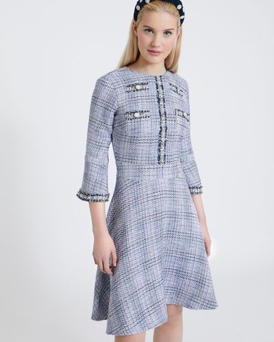 Savida Tweed Pearl Trim Dress
