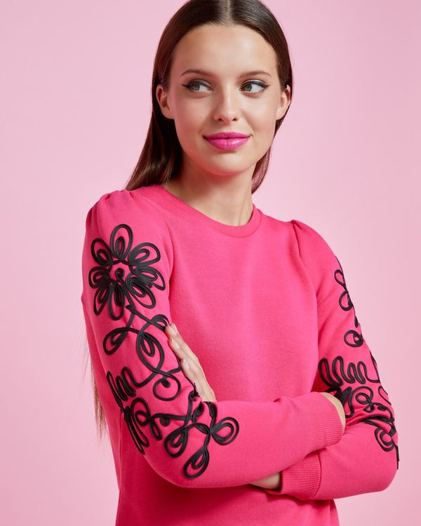 Savida Rope Sleeve Pattern Sweatshirt