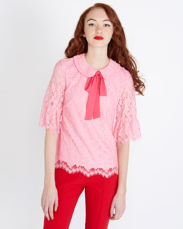pink Savida Peter Pan Lace Top