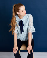 green Savida Peter Pan Collar Top
