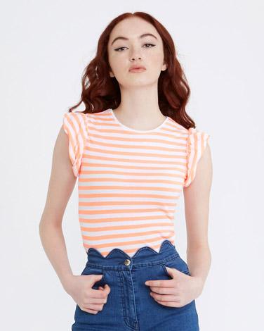 neon-orangeSavida Puff Sleeve Stripe T-Shirt