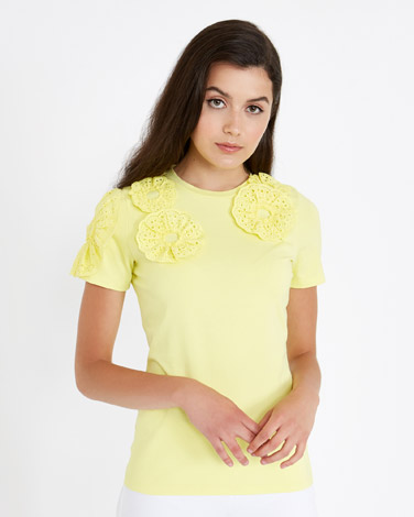 yellow Savida Crochet Flower T-Shirt