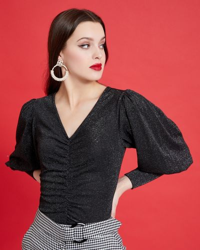 Savida Ruched Front Glitter Top