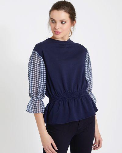 Savida Sequin Check Sleeve Top