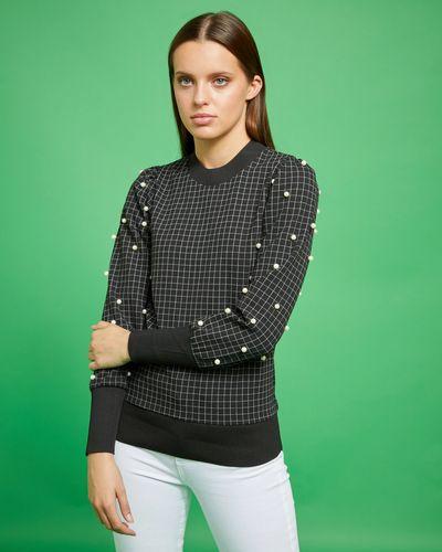 Savida Check Sweatshirt With Pearls