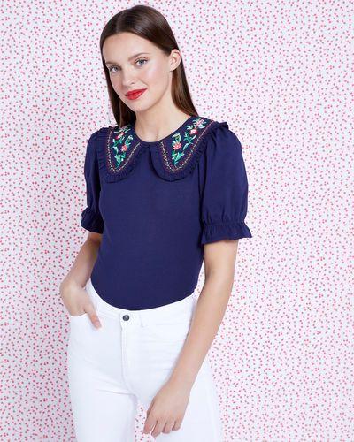 Savida Embroidered Collar Top thumbnail