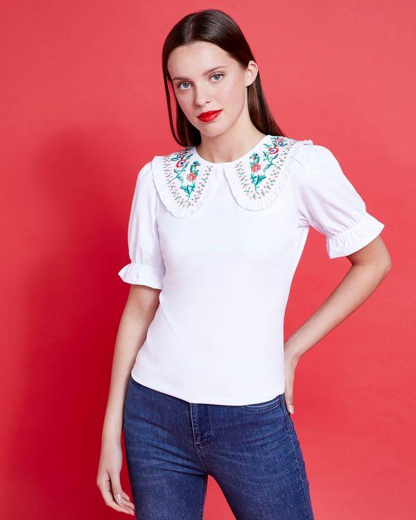 Savida Embroidered Collar Top