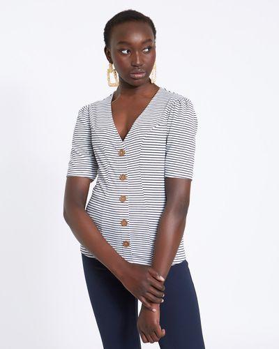 Savida Button Stripe Top