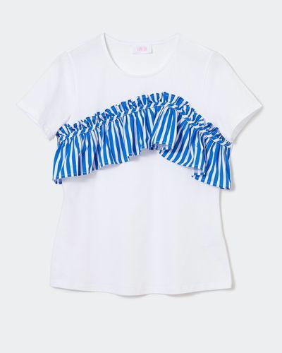 Savida Woven Strip Frill Top