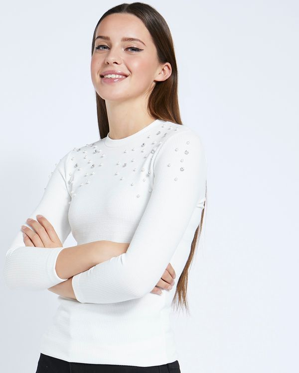 Savida Jewel And Pearl Ribbed T-Shirt