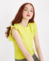 lime Savida Peony Frill Shoulder Top