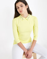 yellow Savida Daisy Jewel Collar Top