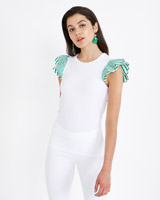 green Savida Woven Stripe Frill Top