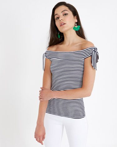 navy Savida Bardot Stripe Top