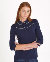 navy Savida Bead Top With Collar