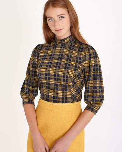 Savida Check Volume Sleeve Top thumbnail