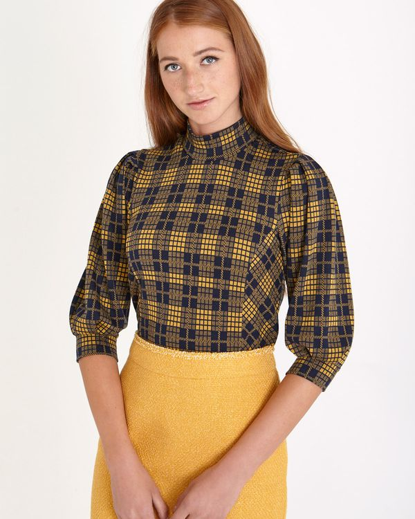 Savida Check Volume Sleeve Top
